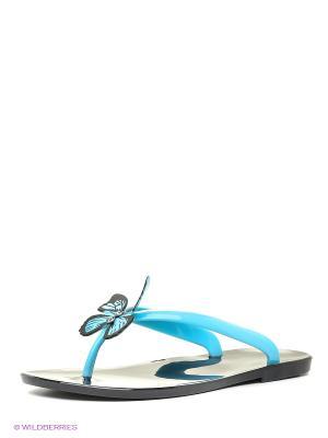 Шлепанцы Mon Ami. Цвет: черный, голубой