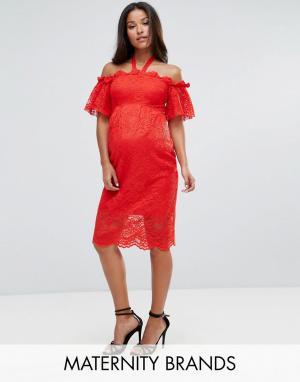 Hope and Ivy Maternity Кружевное платье с широким вырезом &. Цвет: красный