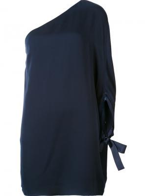 Платье на одно плечо Halston Heritage. Цвет: синий