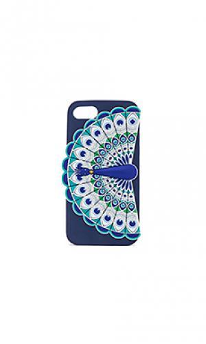Силиконовый чехол для iphone 7 с рисунком павлин kate spade new york. Цвет: синий