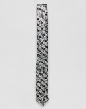 ASOS Серебристый галстук с пайетками. Цвет: серебряный