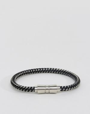 Seven London Плетеный черно-белый браслет. Цвет: черный