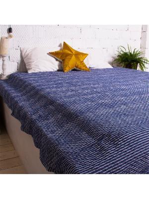 Покрывало Линии джинсовые 200*230, 100% хлопок. ARLONI. Цвет: серо-голубой, голубой