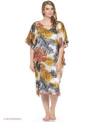 Платье - туника Del Fiore. Цвет: белый, светло-коричневый, черный