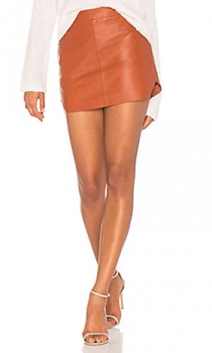Кожаная юбка jacob Karina Grimaldi. Цвет: ржавый
