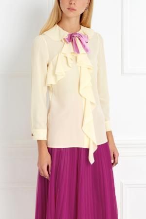 Шелковая блузка Gucci. Цвет: желтый