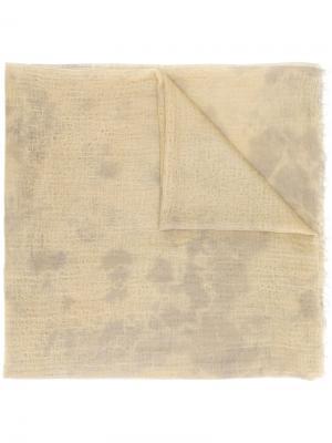 Шарф с необработанными краями Suzusan. Цвет: зелёный
