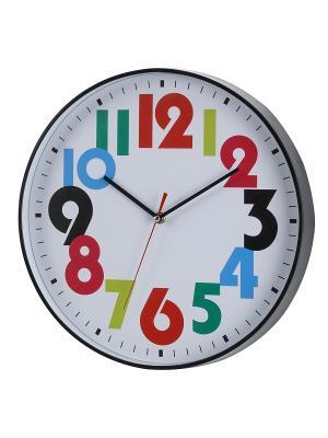 Часы настенные Толстые разноцветные цифры в черной оправе (35 см) NAST248 Mitya Veselkov. Цвет: черный, белый