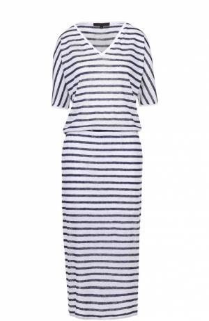 Приталенное платье в полоску с V-образным вырезом на спинке Tegin. Цвет: разноцветный