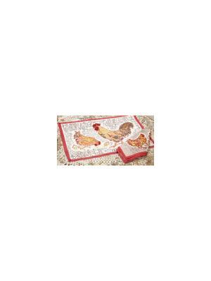 Салфетка Cock ivory-beige-red Петушок слоновая кость-бежевый-красный/ 50*50см, 100% хлопок Mas d'Ousvan. Цвет: белый, желтый, красный