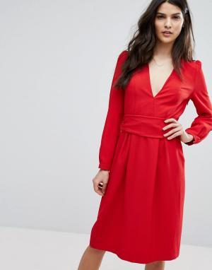 BA&SH Красное платье миди. Цвет: красный