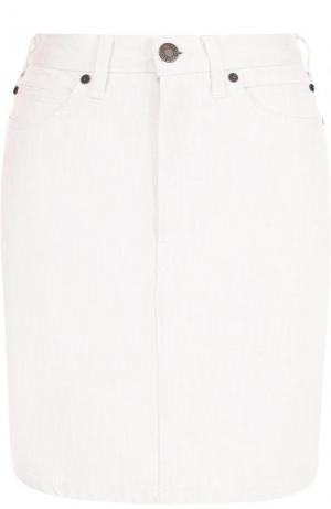 Однотонная джинсовая мини-юбка CALVIN KLEIN 205W39NYC. Цвет: белый