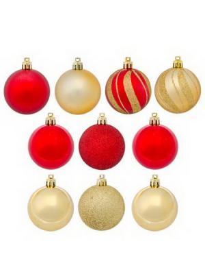 Набор шаров 10шт, 6см, пластик, Новогодний, 2 цвета, 6010N4-5601AK0103 СНОУБУМ. Цвет: красный, золотистый