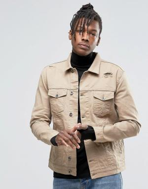 Kubban Джинсовая куртка в стиле вестерн песочного цвета. Цвет: бежевый
