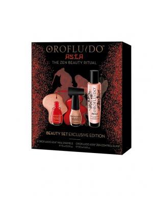 Подарочный набор OROFLUIDO Азия эликсир 50 мл + лаки для ногтей, шт. Цвет: черный, красный