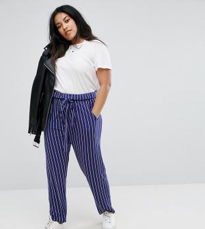 ASOS Curve Полосатые брюки галифе с завязкой. Цвет: мульти