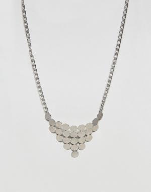 Nylon Ожерелье с геометрической подвеской. Цвет: серебряный