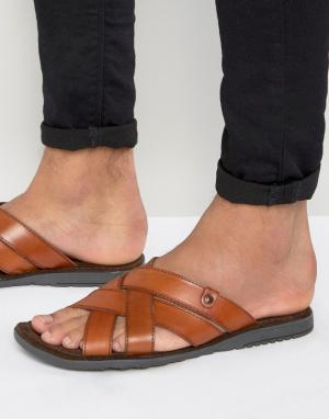 Base London Кожаные сандалии. Цвет: рыжий