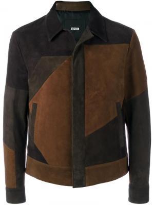 Куртка с панельным дизайном System Homme. Цвет: коричневый