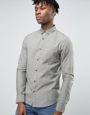 Troy Оксфордская узкая рубашка с карманом. Цвет: зеленый