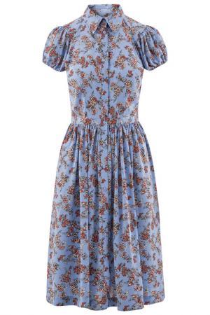 Платье oodji. Цвет: синий, фуксия,цветы