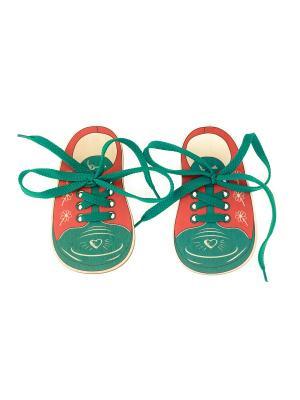 Шнуровка БОТИНКИ СЕРДЕЧКО и КЛЮЧИК (2 ботинка со шнурками) АНДАНТЕ. Цвет: зеленый, бежевый, красный