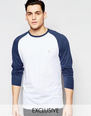 Farah Узкая футболка с контрастными рукавами реглан. Цвет: темно-синий