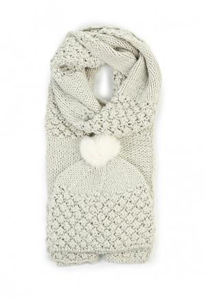 Комплект шапка и шарф Sabellino. Цвет: серый