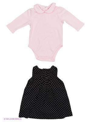 Комплект из 2-х предметов Крошечный лепесток: платье и боди. Little Me. Цвет: черный, розовый