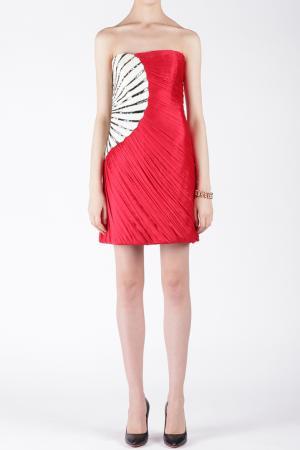 Шелковое платье Jay Ahr. Цвет: красный, черно-белый