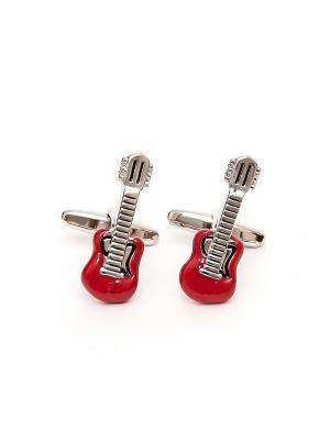 Запонки музыка красные гитары рок-н-ролл Churchill accessories. Цвет: серебристый