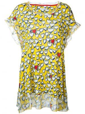 Блузка с цветочным принтом Tsumori Chisato. Цвет: жёлтый и оранжевый