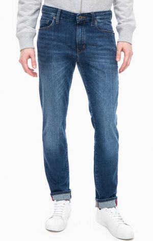 Зауженные синие джинсы с низкой посадкой Marc O'Polo. Цвет: синий