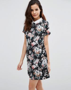 Poppy Lux Платье-туника с цветочным принтом Wilona. Цвет: черный