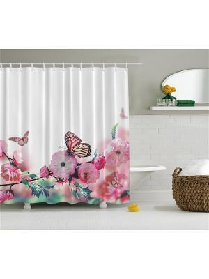 Фотоштора для ванной Японский цветок, птицы на венке, розовый букет, бабочки цветущей ветке, 18 Magic Lady. Цвет: белый, бледно-розовый, зеленый, молочный, розовый