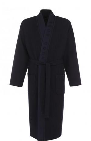 Хлопковый халат с поясом BOSS. Цвет: темно-синий