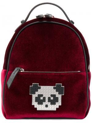 Рюкзак с нашивкой-пандой из пикселей Les Petits Joueurs. Цвет: красный