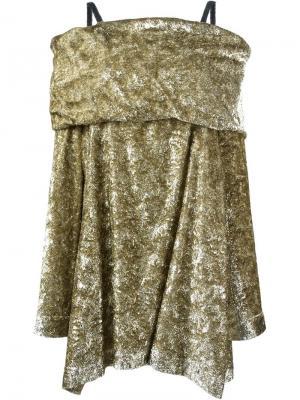 Платье с открытыми плечами Isa Arfen. Цвет: металлический