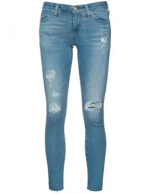 Рваные джинсы кроя скинни Ag Jeans. Цвет: синий