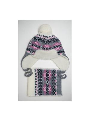 Шапка, шарф Tricotier. Цвет: серый, фуксия