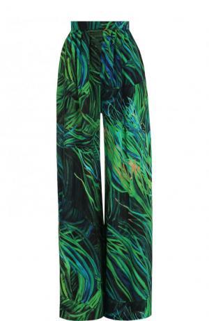 Шелковые широкие брюки с принтом Elie Saab. Цвет: зеленый
