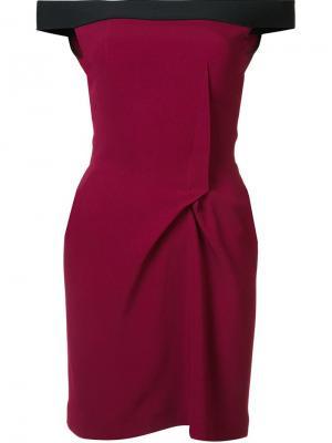 Мини-платье с открытыми плечами Roland Mouret. Цвет: розовый и фиолетовый