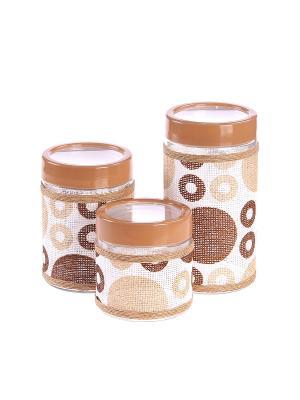 Набор банок для сыпучих продуктов 3 предмета PATRICIA. Цвет: светло-коричневый