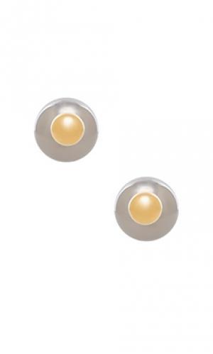 Серьги pearl Amber Sceats. Цвет: металлический золотой