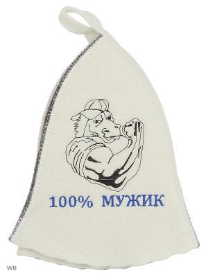 Шапка для бани с вышивкой в косметичке 100% мужик Метиз. Цвет: белый, серый
