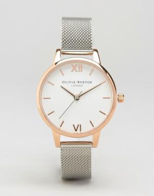 Olivia Burton Часы из разных металлов с сетчатым ремешком OB16MDW02. Цвет: серебряный