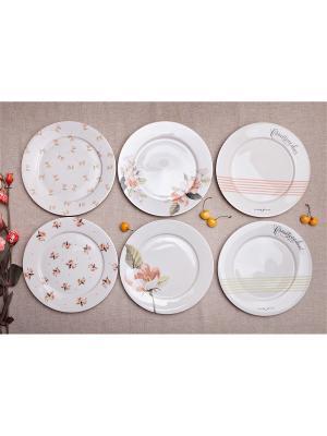 Набор тарелок 24см Прованс, 6 предметов Счастье в мелочах. Цвет: белый