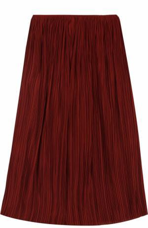 Шелковая плиссированная юбка-миди The Row. Цвет: красный