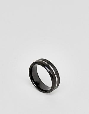 Seven London Серебристо-черное кольцо. Цвет: черный