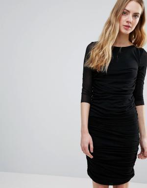 Ganni Присборенное облегающее платье. Цвет: черный